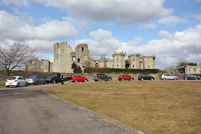Car park and approach to Raglan Castle