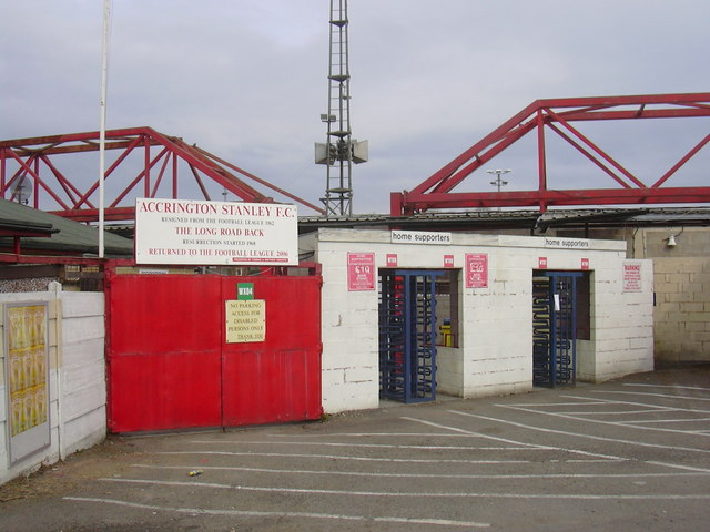 Turnstiles at Accrington Stanley Football Club, Fraser Eagle Stadium, Livingstone Road, Accrington, Lancashire BB5 5BX