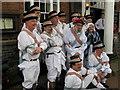 SJ2937 : Kirtlingtom Morris Men posing outside the Hand Hotel by Linnet