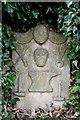 NT7771 : A symbolic gravestone at St Helens Churchyard, Cockburnspath by Walter Baxter
