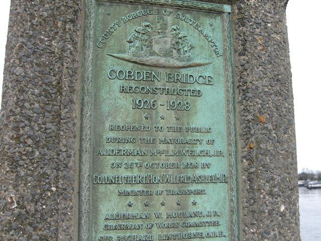 Cobden Bridge plaque, Southampton