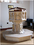 TM1579 : The church of St Andrew in Scole - C15 baptismal font by Evelyn Simak