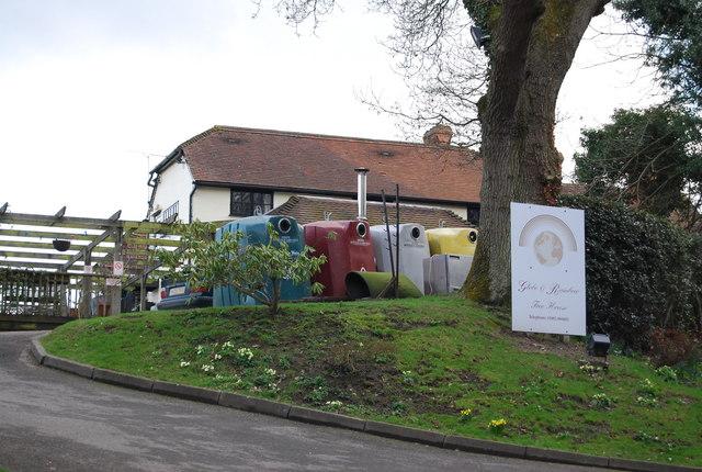 Recycling bins, The Globe and Rainbow Inn
