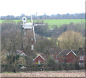 TM1678 : Billingford Mill dwarfing the surrounding houses by Evelyn Simak