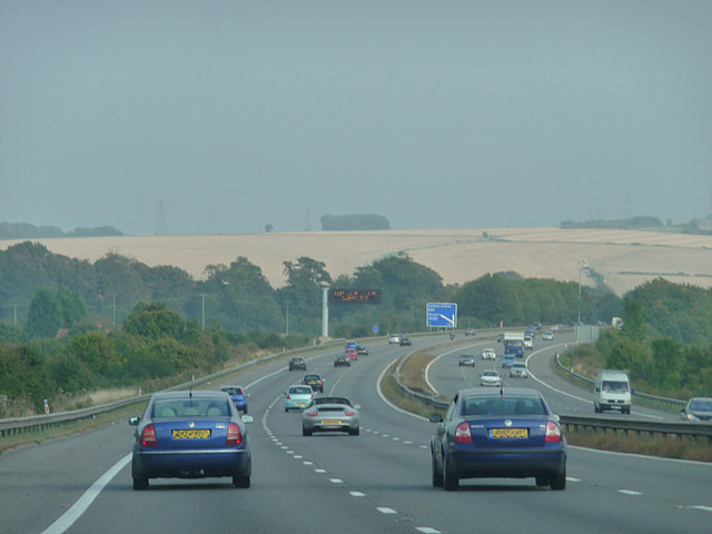 M27 approaching Fareham from the west