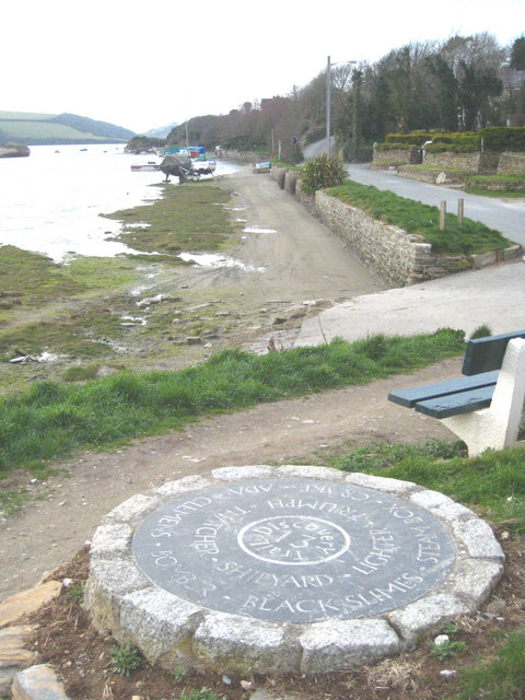 Disc number 13 beside the River Gannel on the Newquay Discovery Trail