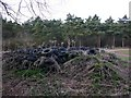 SP2547 : Pile of tyres by the bridleway, Ettington Park by David P Howard