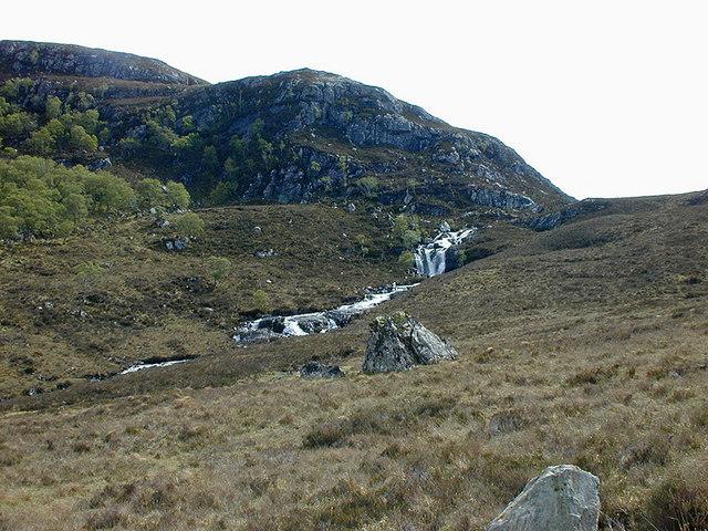 Waterfall at the head of Gleann Chaorachain