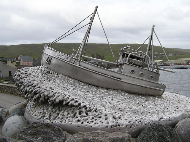 Sculpture on Shetland Bus Memorial