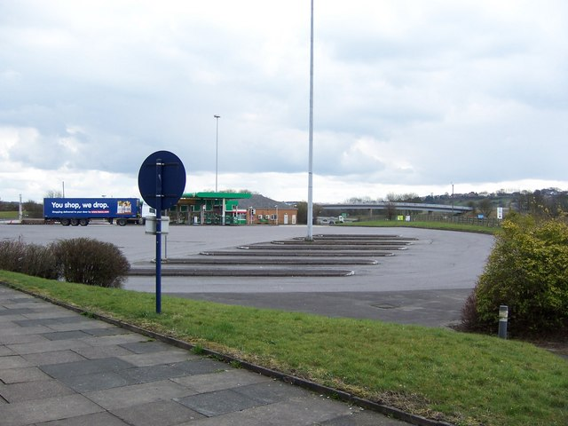 Lorry and Coach Parking Lot (or lots of Parking), Bolton West Services, Southbound, M61 Motorway