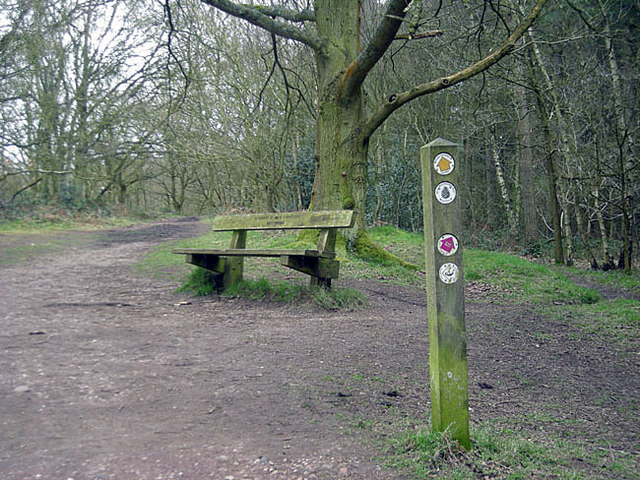 Way markers & a bench in Kingswood Park