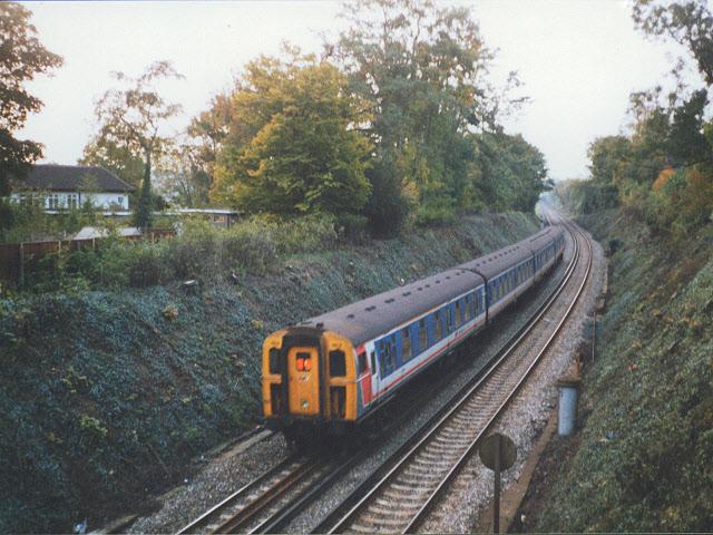 Railway cutting north of Otford station