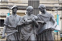 SJ3384 : Statues at the base of the Memorial to the First Viscount Leverhulme by Steve Daniels
