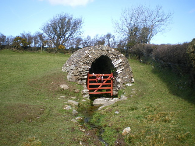 Llanllawer Holy Well and the issuing stream