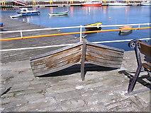HU4741 : Boat shaped bench at Small Boat Harbour by Robbie