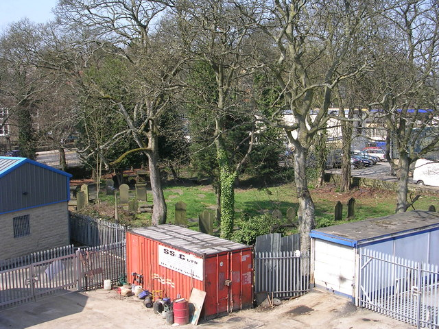 Burial Ground - viewed from Footbridge over Bingley Bypass