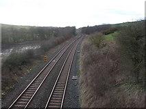 NY0637 : Railway, from the bridge near Dearham by John Lord