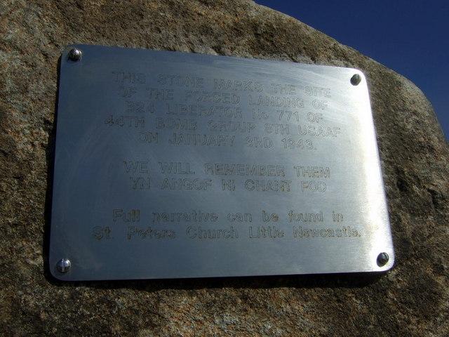 Wartime aircrash memorial plaque, New House crossroads