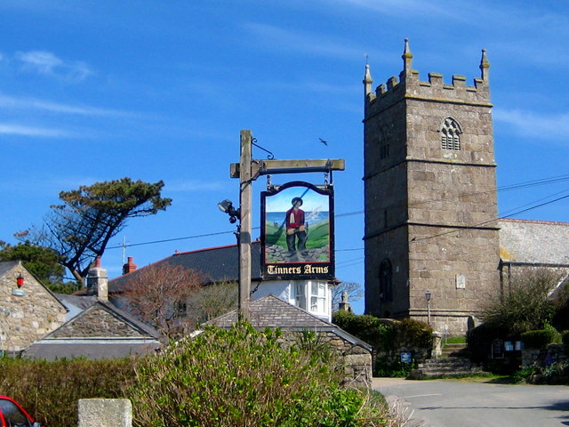 The pine, the pub sign and the church - Zennor