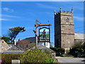 SW4538 : The pine, the pub sign and the church - Zennor by Sarah Smith
