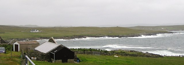 View over Skaw Voe, Fluckings Bight, and Vai Voe