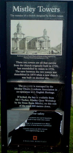 Mistley Towers - English Heritage Sign