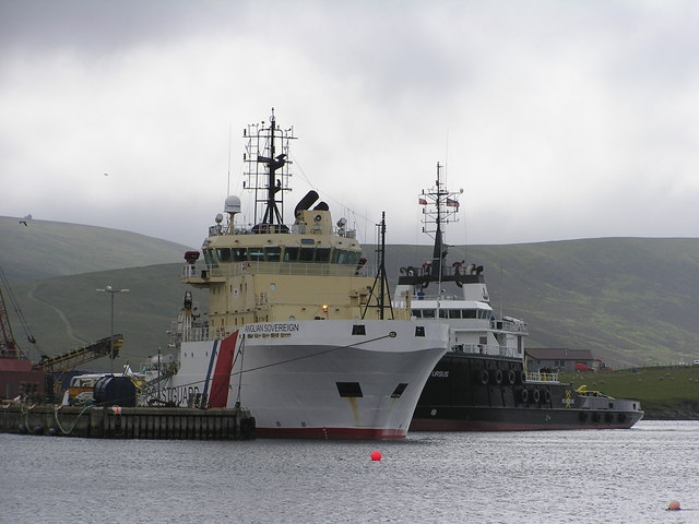 Coastguard vessel, 'Anglian Sovereign', at Scalloway