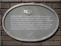SP3378 : Hertford Street history plaque by Robin Stott