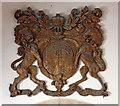 TM0287 : St Andrew, Quidenham, Norfolk - Royal Arms by John Salmon