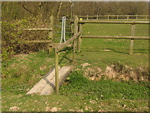 TQ7033 : Stile and footbridge near Combwell Priory Farm by David Anstiss