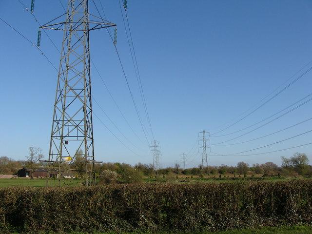 Parallel pylons, near Willand