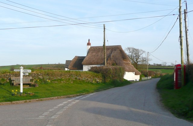 Thatched cottage and road junction, Caute, Shebbear