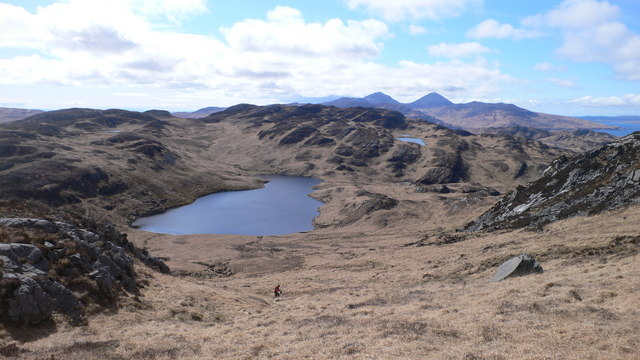 Loch Mòr Bealach na h-Imriche from the southern flank of Rainberg Mor