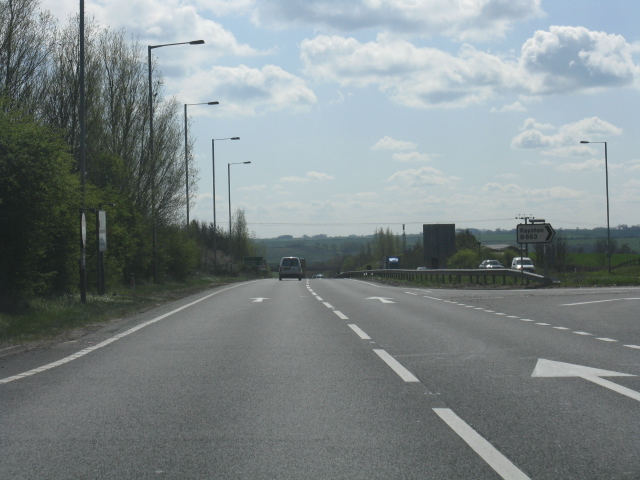 A14 at junction 15 (Keyston exit)