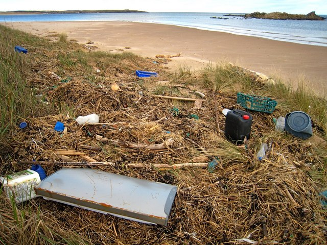 Whinnyfold: human detritus on Cruden Bay beach