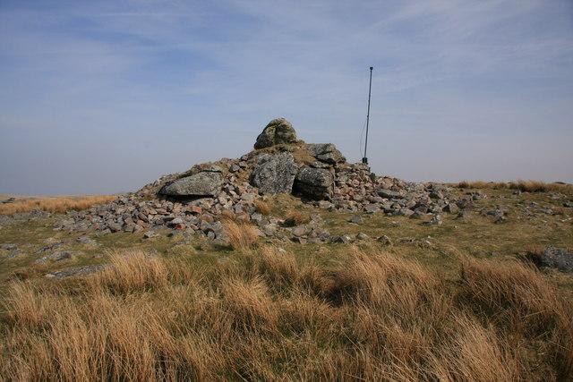 Lynch Tor cairn and flag pole