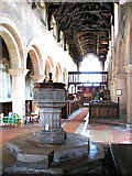 TF5617 : All Saints church in Tilney All Saints - C17 font by Evelyn Simak