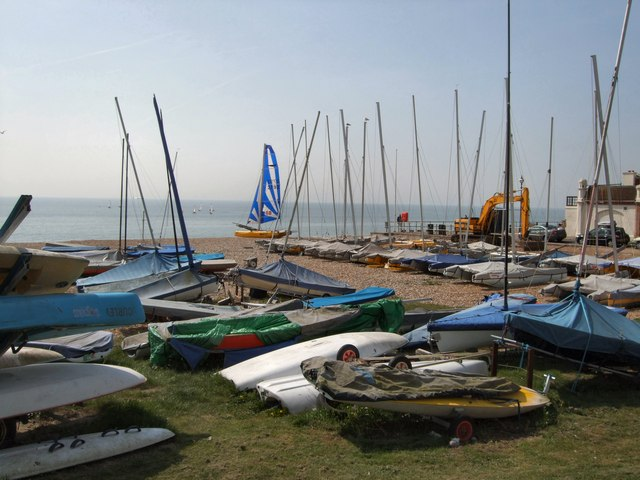 Boats on Bexhill beach