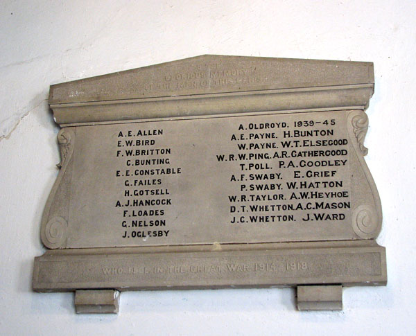 St Lawrence's church in Tilney St Lawrence - war memorial