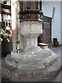 TF5016 : St Peter's church in Walpole St Peter - C16 font by Evelyn Simak