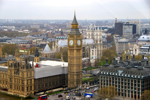 Houses of Parliament, Big Ben and Portcullis House from the London Eye