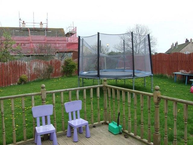 The trampoline in the garden