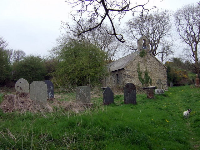Llanstinan church in spring