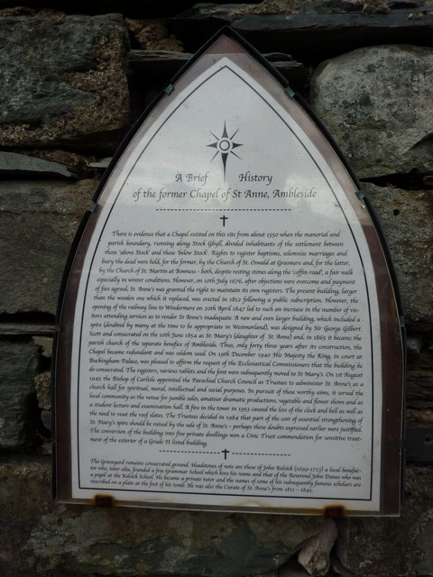 Plaque, History of the former Chapel of St Anne, Ambleside