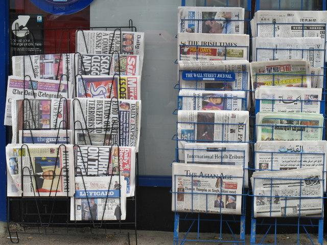 International newspapers at a suburban newsagent's shop
