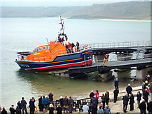 SW3526 : Winching the lifeboat into the boathouse by Rod Allday