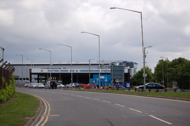 Hatton Cross bus & underground station from Southern Perimeter road at Heathrow airport