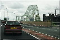 SJ5183 : Approaching the Runcorn Bridge from Widnes by Mike Pennington