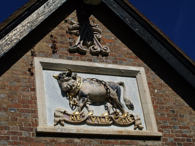 Large ceramic Coat of Arms with real chains at the Nevill Crest and Gun at Eridge Green