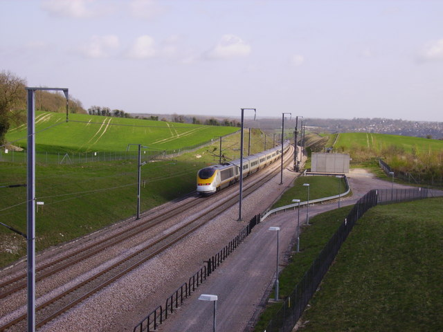 A Eurostar heads for the Channel Tunnel